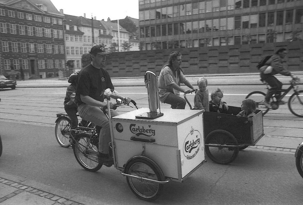 Bike being used to transport beer