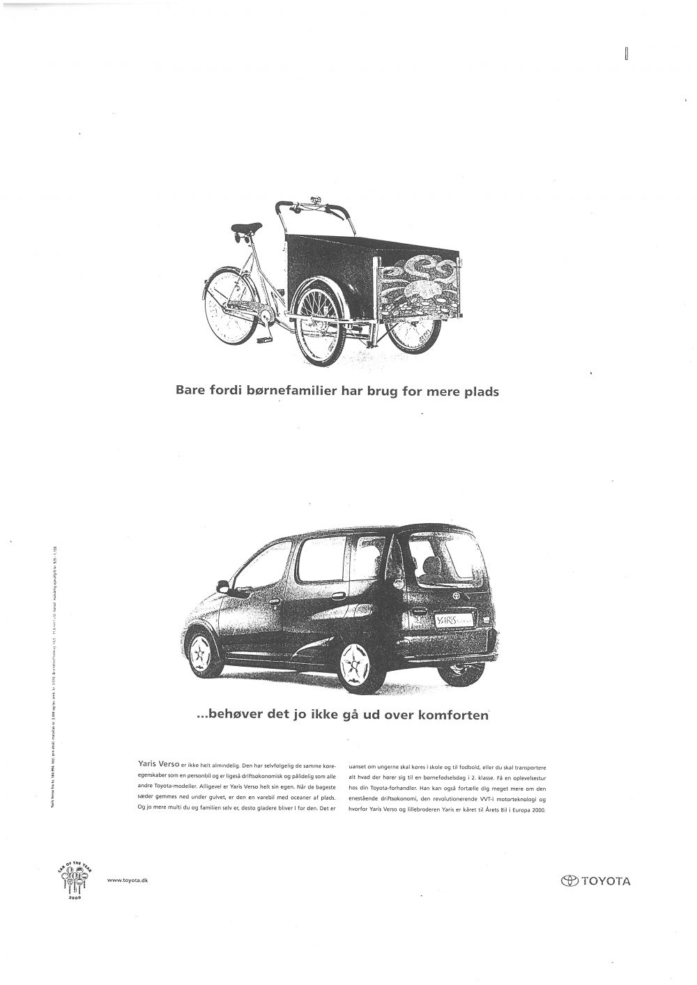 Old poster of cargo bike being compared to a car