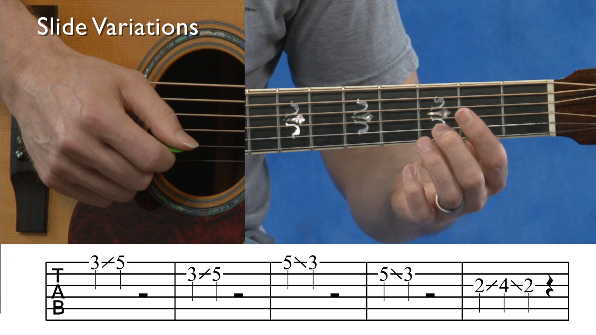 Screenshot of an acoustic split tab from online guitar lessons
