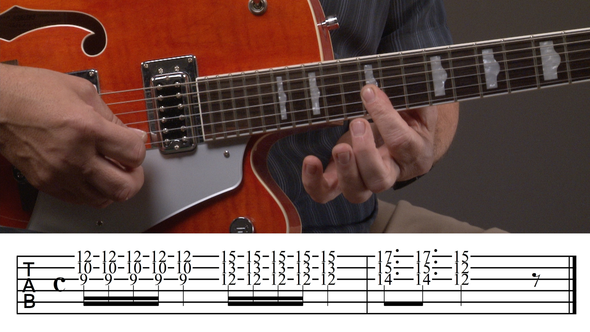 Screenshot of blues from online guitar lessons