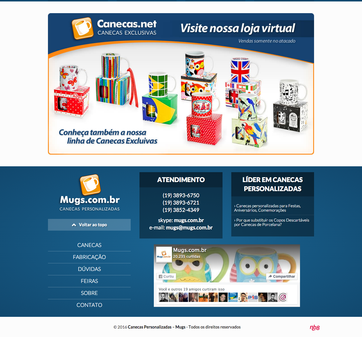 Mugs.com.br website designed with WooCommerce