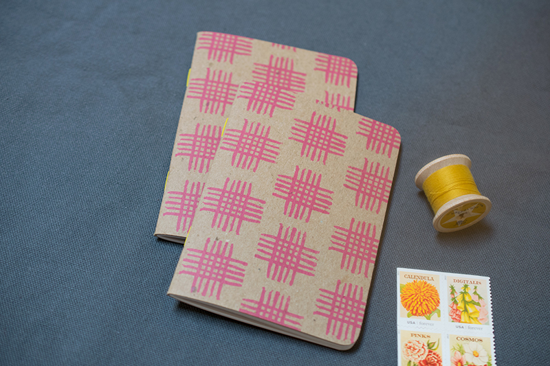 pink crosshatch design custom notebooks