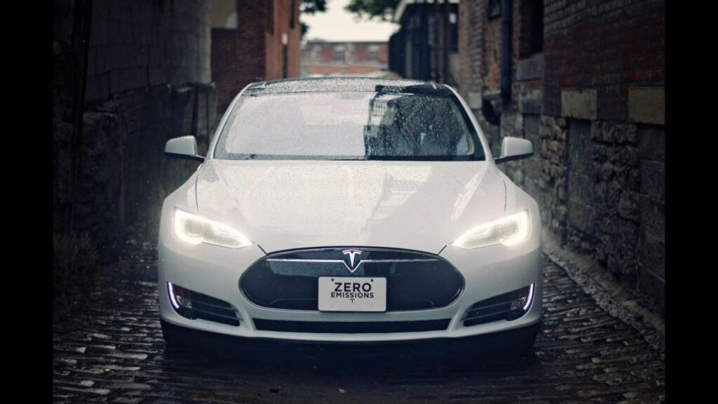 Tesla in an alleyway